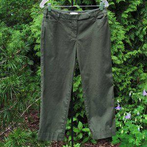 Loft Dark-Olive Marisa Cuffed Crop Pant